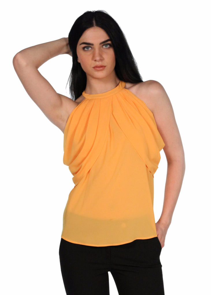 MEES Pleated Front and Back Round Neck Orange Top