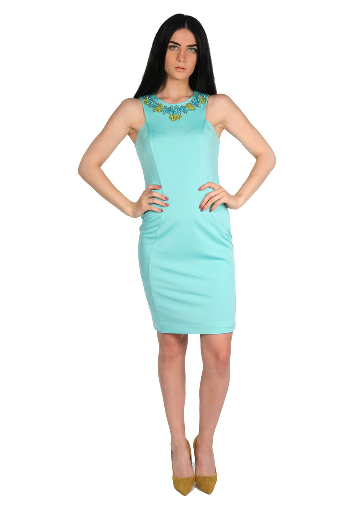 B2 BALIZZA Princess Line Aquamarine Neck Beading Details Dress