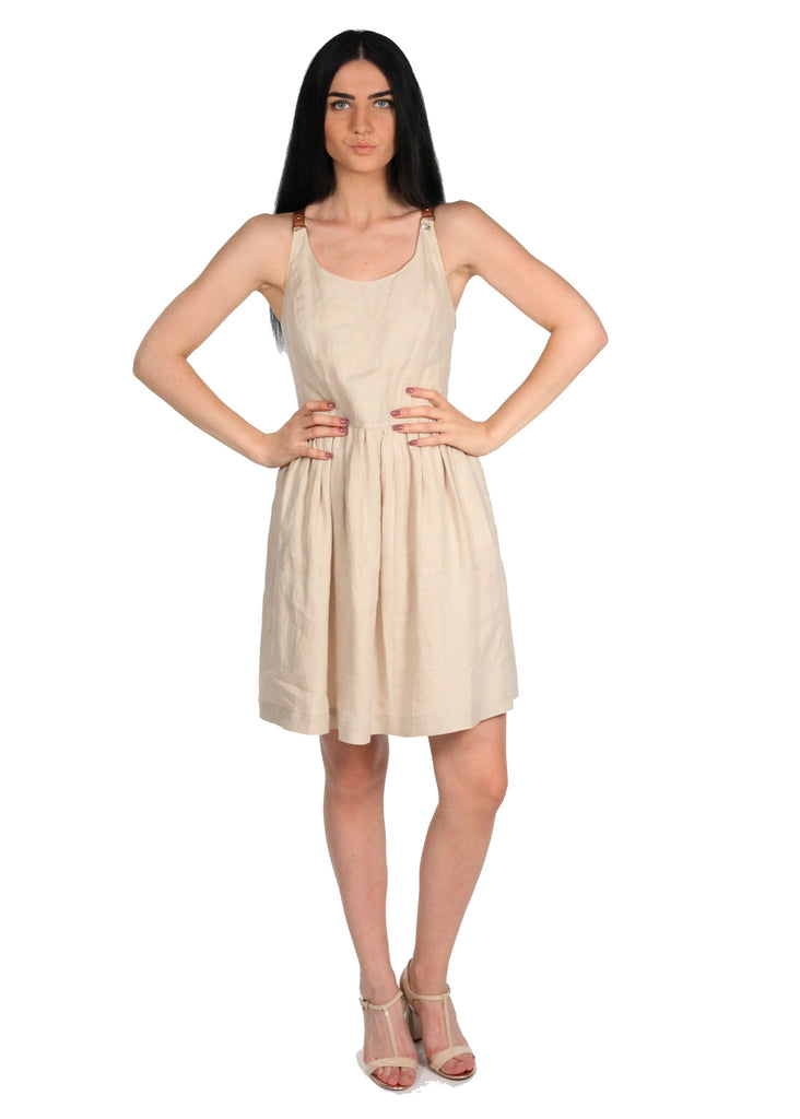 GIZIA Linen Beige Brown Leather Straps Dress