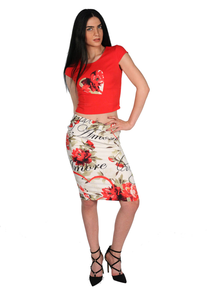 CLUBMODA Two Piece Crop Top Floral Skirt Back Zip