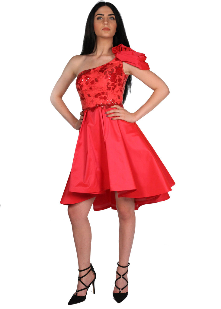ODR POP Red One Shoulder Flower Detailed Lace Puffy Silhouette Back Zip High Low Hem