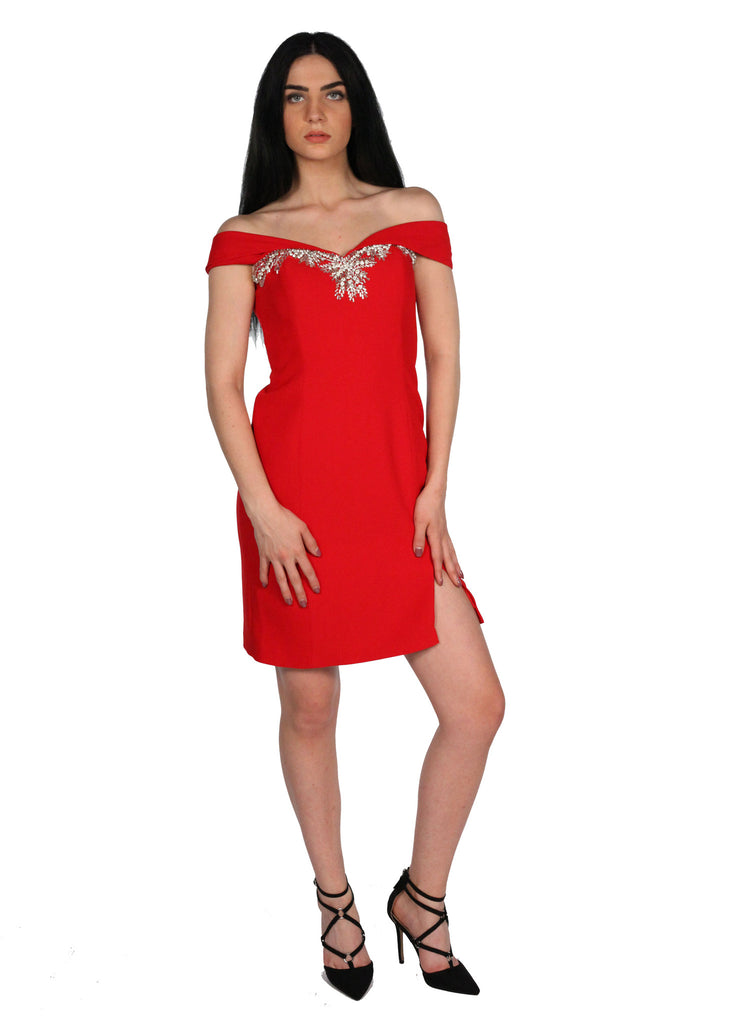 JEGLIDE Red Off Shoulder Heart Shape Beading Dress