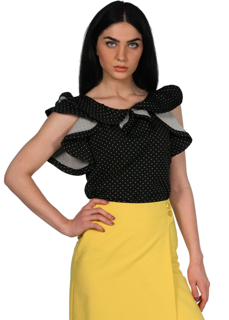 ESITO Black and White Polka Dot Ruffle Neck and Sleeves