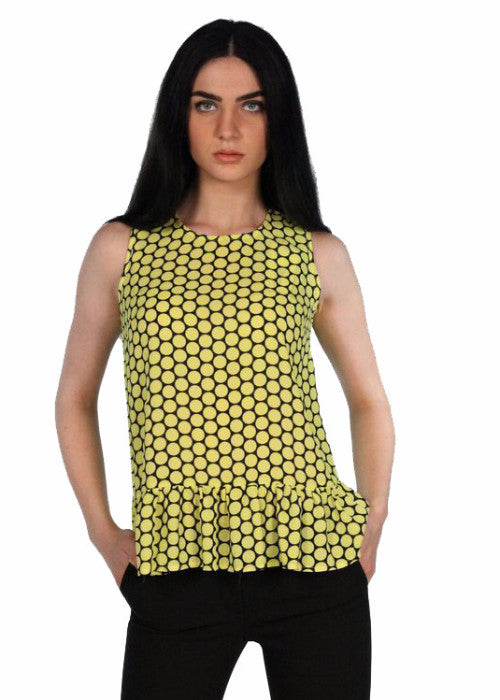 MEES Black and Yellow Polka Dot Round Neck Ruffle Hem Top