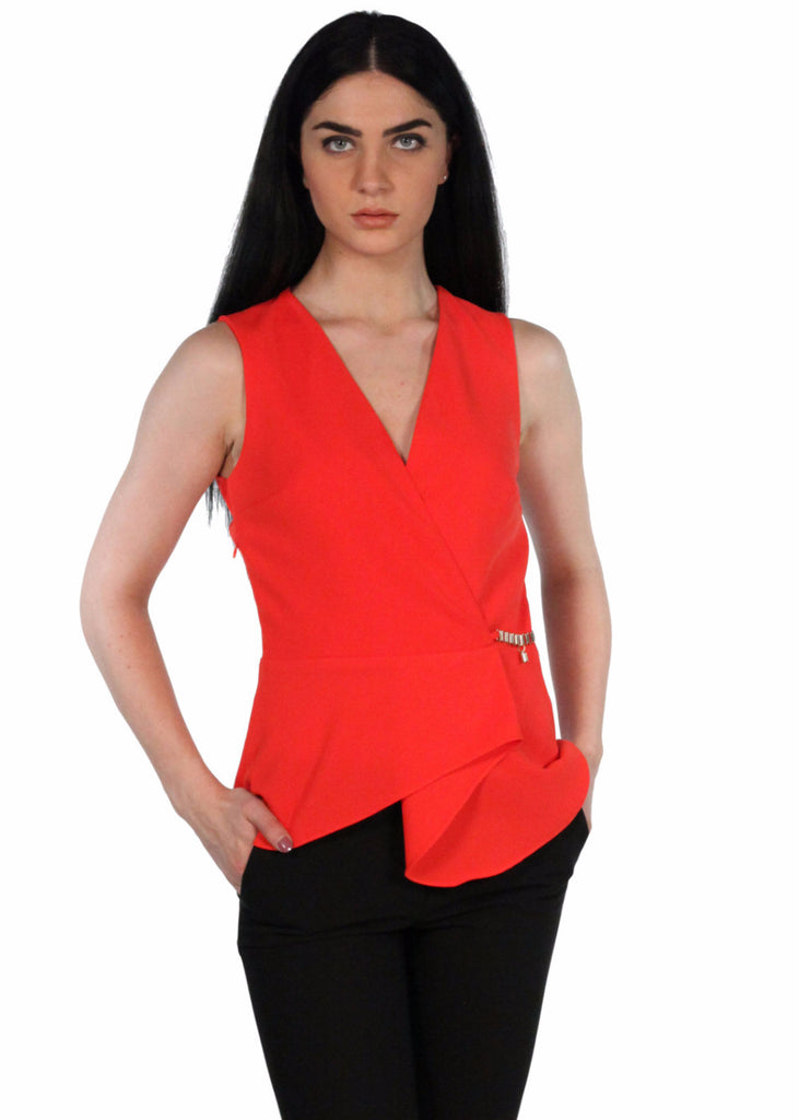 EXPLOSION  V-neck Wrap Top Side Zip