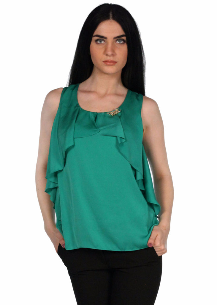 GIZIA  Tiger Brooch Sleeveless Round neck Top