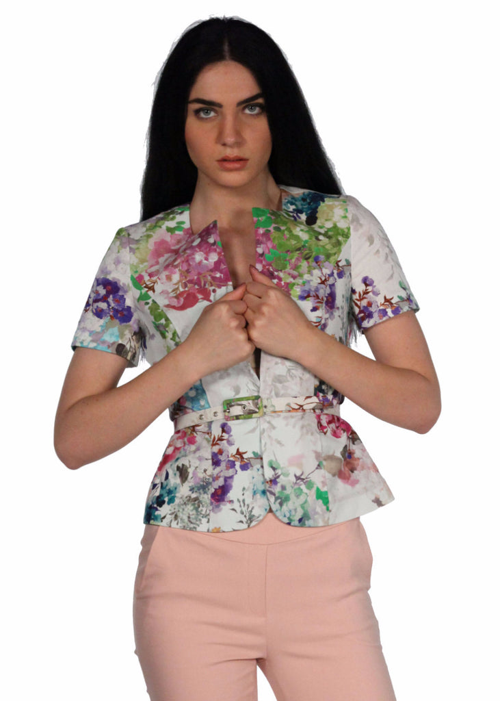 ADL Floral Fitted Short Sleeves Round Neck Waist Belt Top
