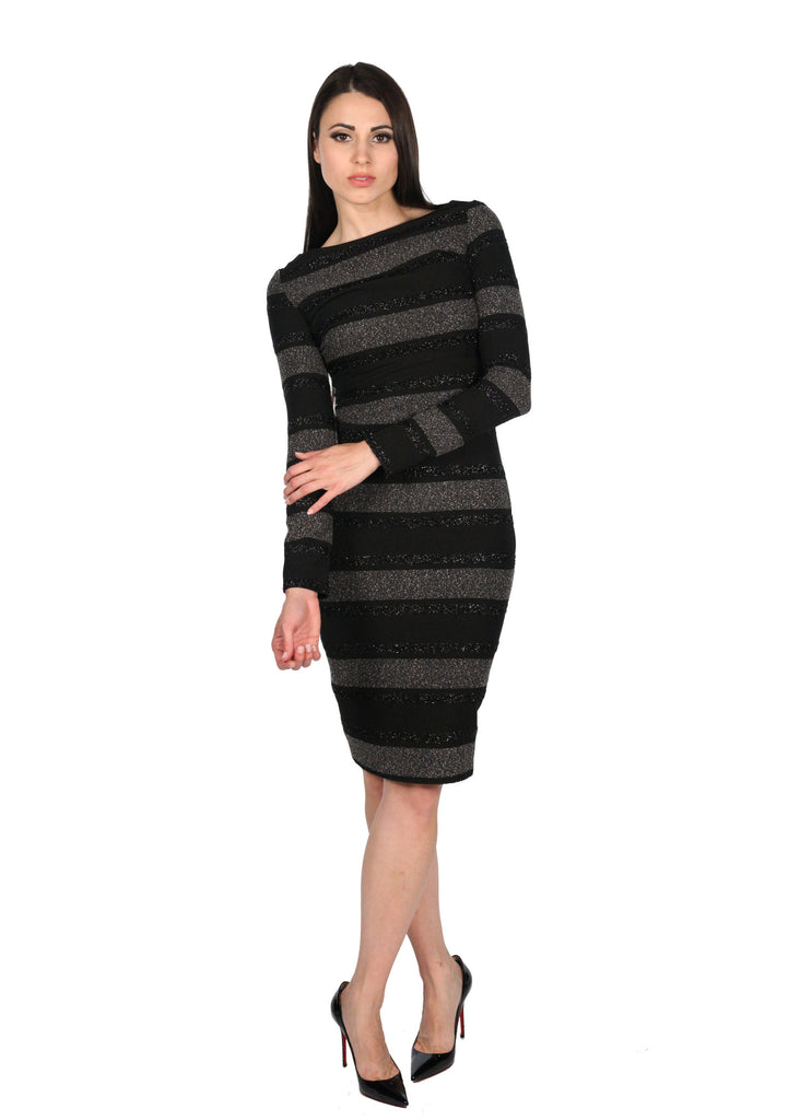 NELLY&CO Detailed Black Gray Dress