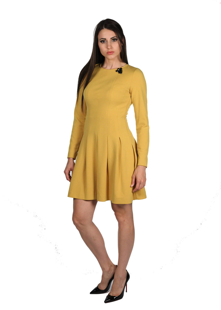 4G Pleated Yellow Dress