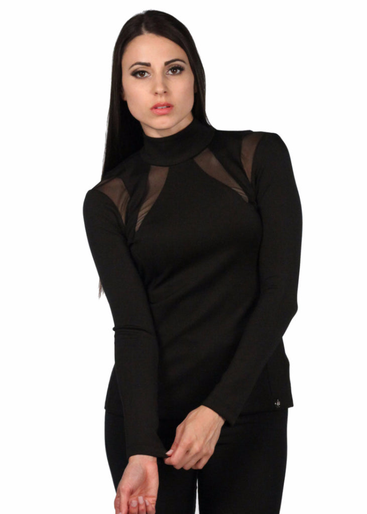 4G Long Sleeve High Neck Net Cut Out Top