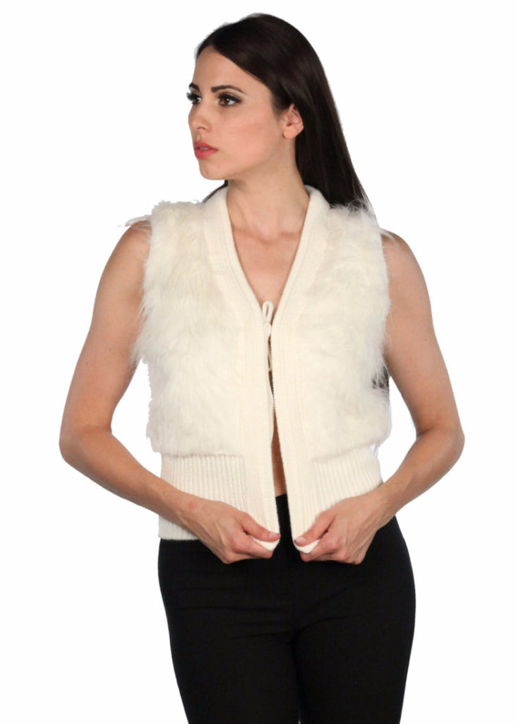 CODENTRY Faux Fur Knitted Tie Vest
