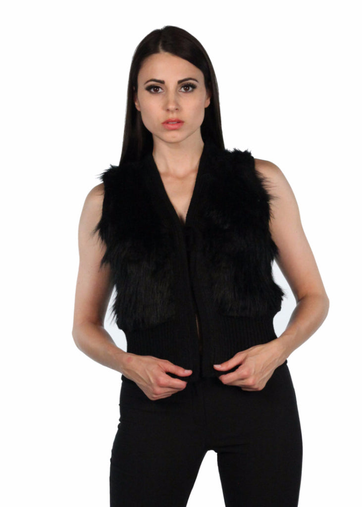 ADL Faux fur Vest back knitted