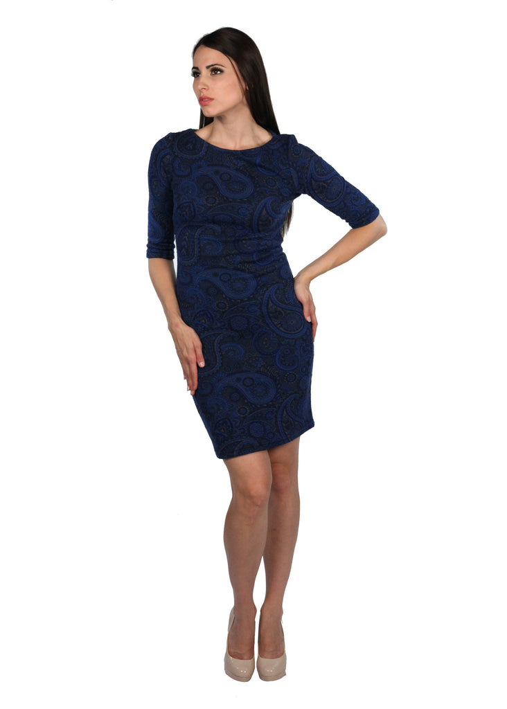 JANNA Round Neck 3/4 Sleeve Tight Pattern Knitted Blue Dress