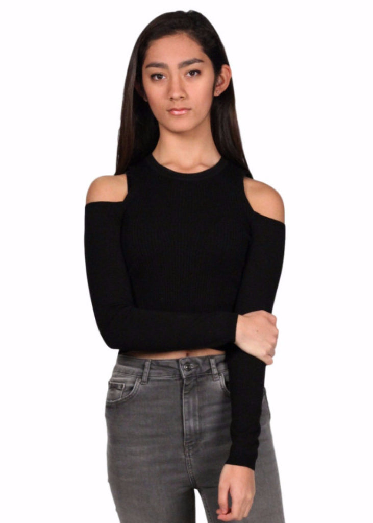 BORGEN Cut Out Shoulder Crop Top