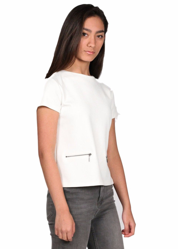 ADL Round Neck Short Sleeve Zipper Front Top
