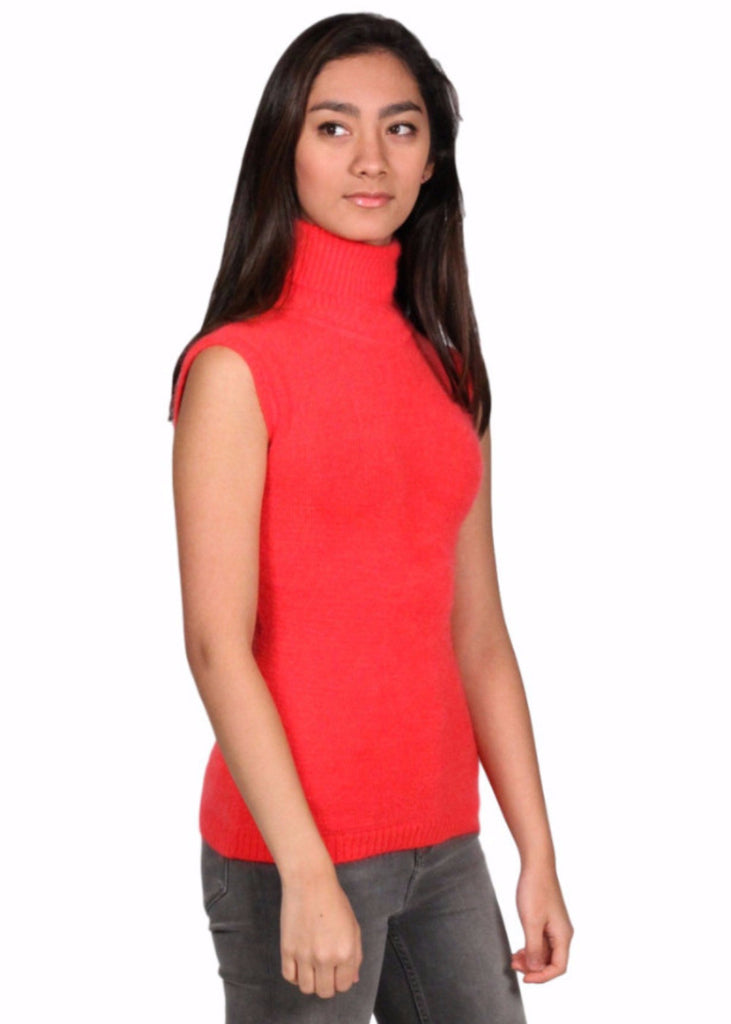 LUXURY CLASS FASHION Turtle Neck Sleeveless Top