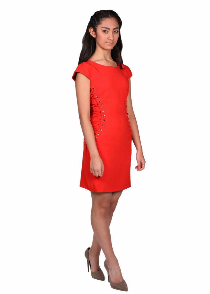KEDMA Round Neck Sides lace Up Red Dress