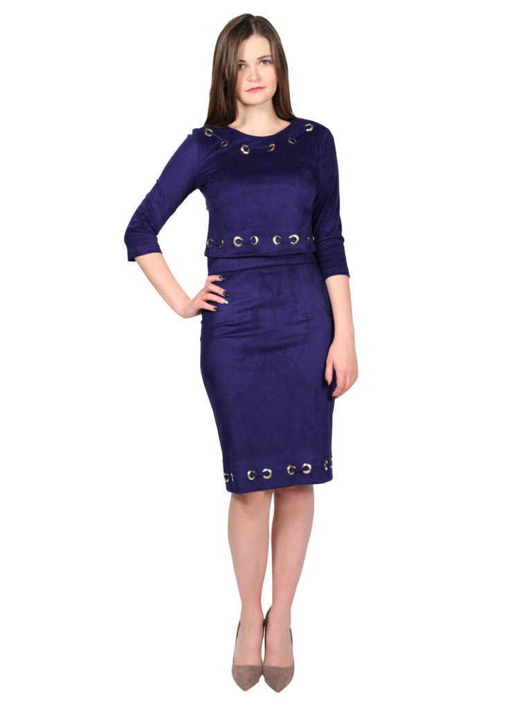 VICTORIA'G Navy Blue Two Piece ُSuede Top & Skirt