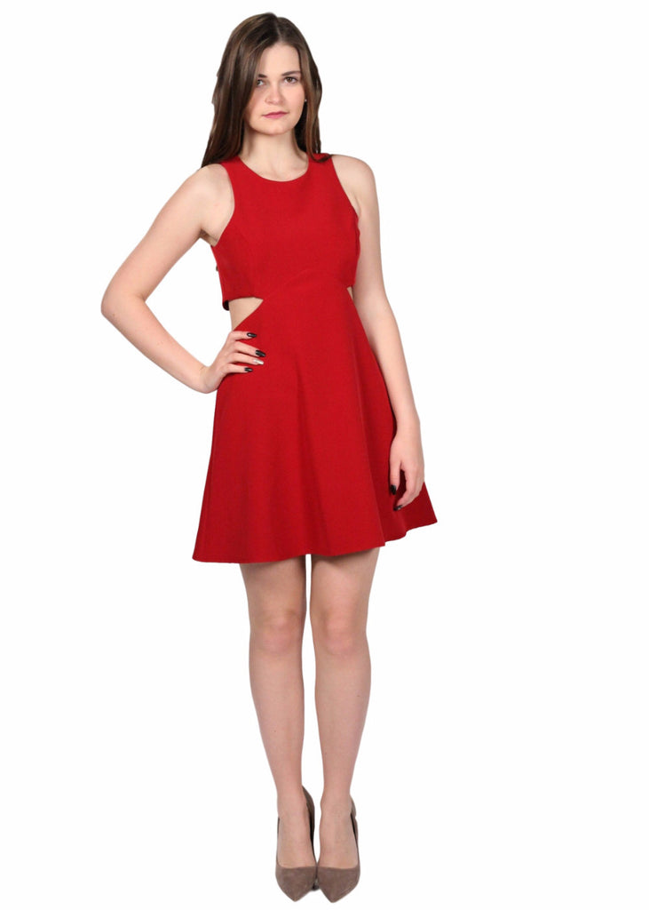 NADINE Red Round Neck Waist Cut Out Flare Dress