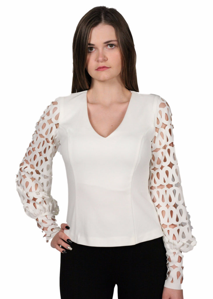BATIK Laser Cut sleeve Top