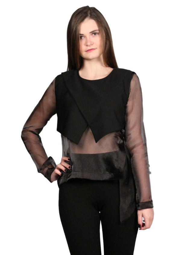 JEANNE DARC 2-Layers Organza Black top