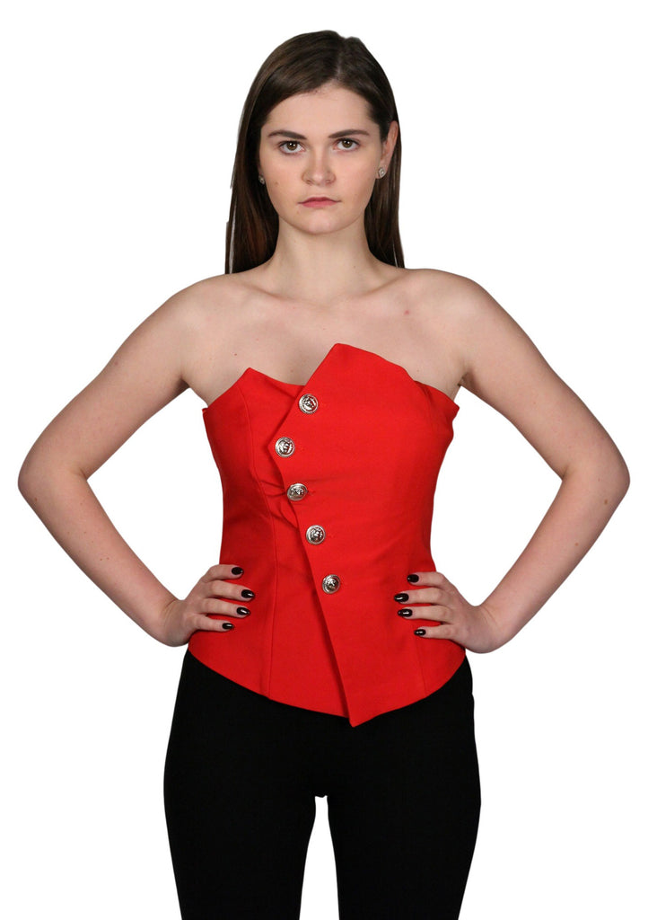 JF LEFON Double Breasted Strapless Top Red Top