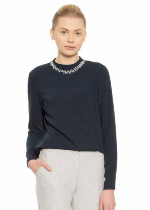 GIZIA Neck Detail Long sleeve Top