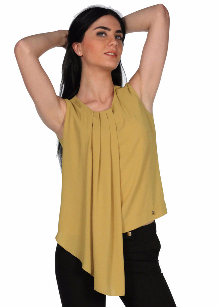 MEES Khaki Neck Pleated Top