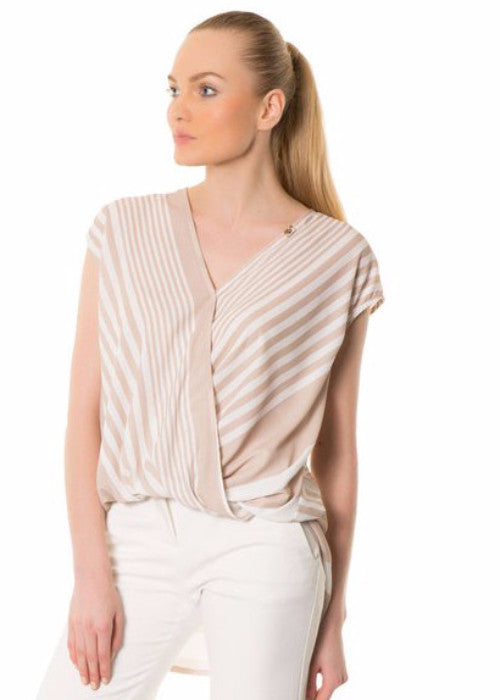 GIZIA White and Beige Strip Wrap Blouse