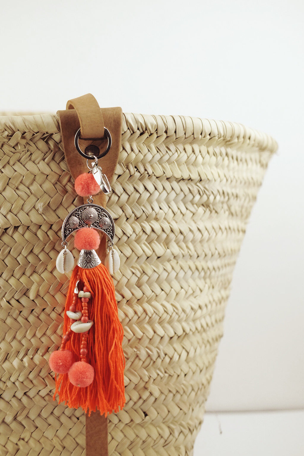 Tangerine Bag Charm with Cowrie Shells