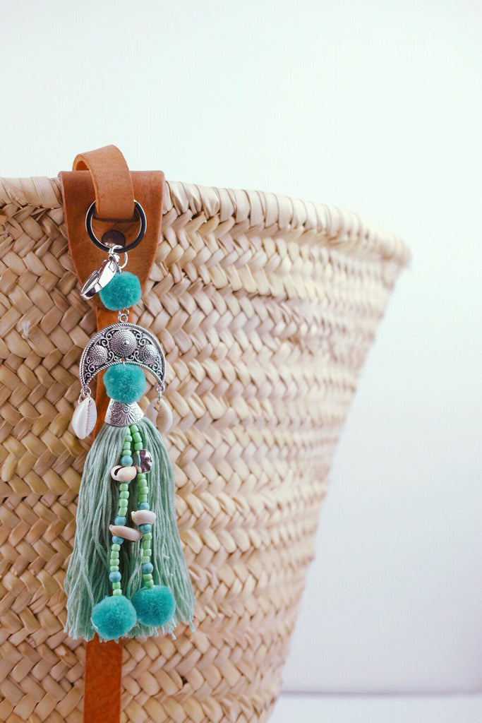 Teal Bag Charm with Cowrie Shells
