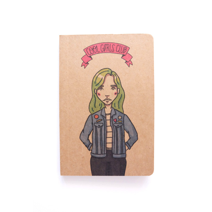 Cool Girls Club Girl with Green Hair Pocket Notebook