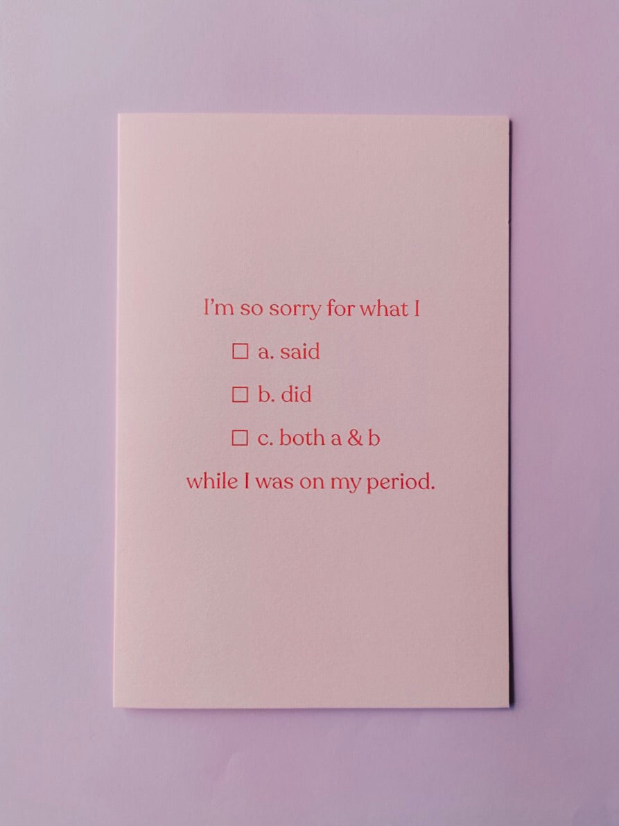 Period Apology Greeting Card