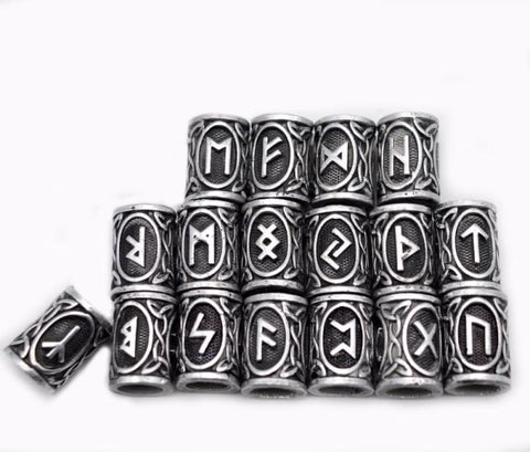 Image of 24 Piece Viking Runes Charms Beads - Pendant Necklaces Vikings