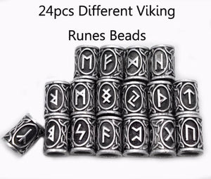 24 Piece Viking Runes Charms Beads - Pendant Necklaces Vikings