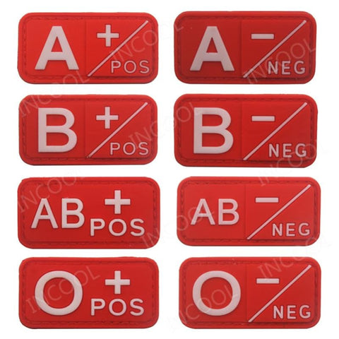 Image of 3D Pvc A+ B+ Ab+ O+ Positive Pos A- B- Ab- O- Negative Neg Blood Type Group Patch Tactical Morale Patches Military Rubber Badges - Patches