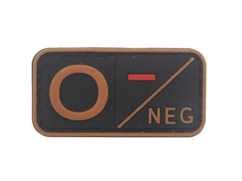 Image of 3D Pvc A+ B+ Ab+ O+ Positive Pos A- B- Ab- O- Negative Neg Blood Type Group Patch Tactical Morale Patches Military Rubber Badges - O Neg