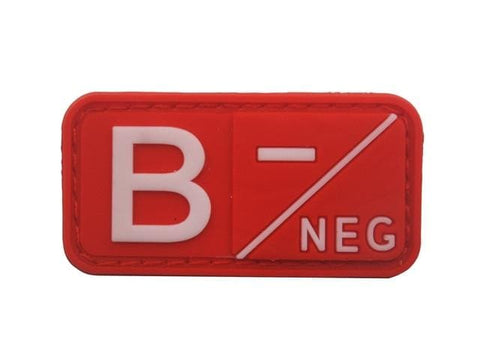 Image of 3D Pvc A+ B+ Ab+ O+ Positive Pos A- B- Ab- O- Negative Neg Blood Type Group Patch Tactical Morale Patches Military Rubber Badges - B Neg Red