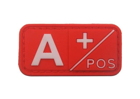 Image of 3D Pvc A+ B+ Ab+ O+ Positive Pos A- B- Ab- O- Negative Neg Blood Type Group Patch Tactical Morale Patches Military Rubber Badges - A Pos Red