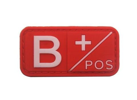 Image of 3D Pvc A+ B+ Ab+ O+ Positive Pos A- B- Ab- O- Negative Neg Blood Type Group Patch Tactical Morale Patches Military Rubber Badges - B Pos Red