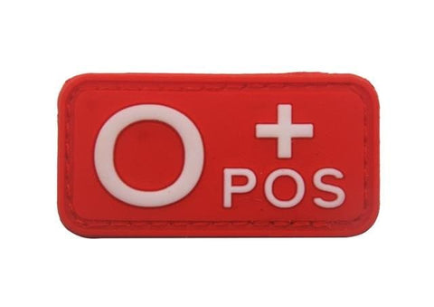 Image of 3D Pvc A+ B+ Ab+ O+ Positive Pos A- B- Ab- O- Negative Neg Blood Type Group Patch Tactical Morale Patches Military Rubber Badges - O Pos Red