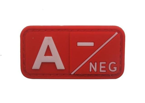 Image of 3D Pvc A+ B+ Ab+ O+ Positive Pos A- B- Ab- O- Negative Neg Blood Type Group Patch Tactical Morale Patches Military Rubber Badges - A Neg Red