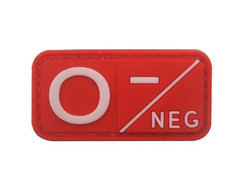 Image of 3D Pvc A+ B+ Ab+ O+ Positive Pos A- B- Ab- O- Negative Neg Blood Type Group Patch Tactical Morale Patches Military Rubber Badges - O Neg Red
