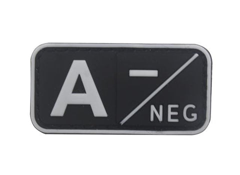 Image of 3D Pvc A+ B+ Ab+ O+ Positive Pos A- B- Ab- O- Negative Neg Blood Type Group Patch Tactical Morale Patches Military Rubber Badges - A Neg