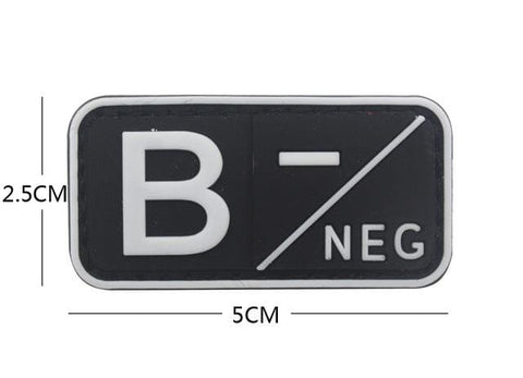 3D Pvc A+ B+ Ab+ O+ Positive Pos A- B- Ab- O- Negative Neg Blood Type Group Patch Tactical Morale Patches Military Rubber Badges - B Neg