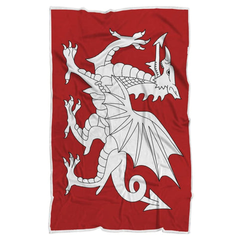 Image of Anglo Saxon White Dragon Blanket - Blanket Blankets