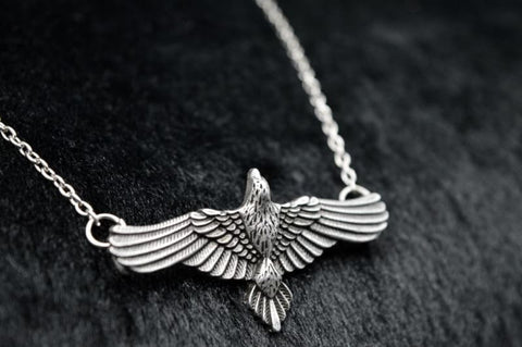 Image of Antique Silver Flying Raven Huginn & Muninn Pendant - Pendant Necklaces Jewelry Vikings