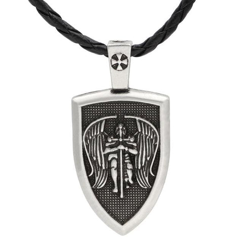 Image of Archangel St.michael Protect Me Shield - Antique Silver Plated - Jewelry Knights Necklace