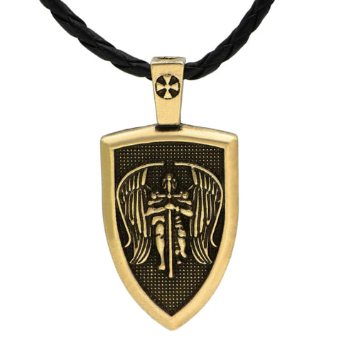 Image of Archangel St.michael Protect Me Shield - Jewelry Knights Necklace