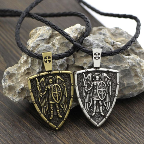 Image of Archangel St. Michael Shield Protection Pendant - Jewelry Knights Necklace